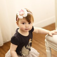 Wholesale pink newborn hats - kids princess hair accessories pink Flower Crown headbands Elastic Cute Hairbands Newborn brithday hat Head Bands KHA700