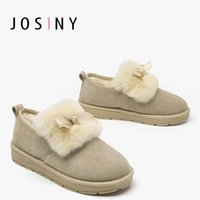 Wholesale new sweet boots online - New Arrival Winter Fashion Female Solid Color Sweet Bow Snow Boots Simple Low Heeled Round Head Flat Heel Female Snow Boots