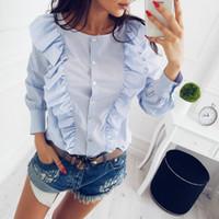 Wholesale elegant ruffled blouses - SIMIN 2017 Autumn Winter New Fashion O-Neck Ruffles Long Sleeve elegant tops blue striped button blouse Casual shirts clothing