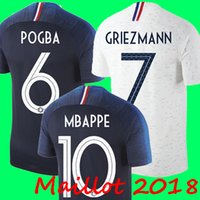 Wholesale feet foot - Thailand France Soccer jerseys 2018 world cup Maillot de foot GRIEZMANN 7 POGBA 6 MBAPPE 10 KANTE Jersey football kits DEMBELE soccer shirt