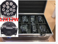 Wholesale quad auto - 10pcs 12x12W+ flightcase +1.2m Dmx cable LED Flat SlimPar Quad Light 4in1 LED DJ Wash Light Stage dmx light lamp 4 8 channes
