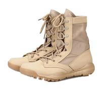 askeri çöl ayak bileği çizmesi toptan satış-2018 Erkekler Ordu Taktik Çizmeler Kış Deri Askeri Ayak Bileği Çizmeler Yaz Çöl emniyet Ayakkabıları erkek Ayakkabı Savaş Botları