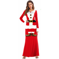 8725219f06c 2018 Fashion Casual Long Christmas Dress Women Winter Long Sleeve O-neck Santa  Claus Party Maxi Dress Red Cosplay Plus Size