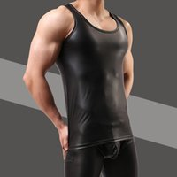 Wholesale leather tank top men - New Pu Leather O -Neck Men Tank Tops Sexy Sleeveless Shirts Men Imitatiion Faux Leather Vest For Casual Wear 5z