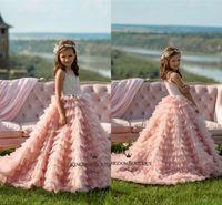 32ced4003e Bonito Rosa Organza Tule Longo Infantil Da Criança Meninas Pageant Vestidos  Tier Ruffles Tutu Saia Appliqued Flor Menina Vestido Crianças Vestidos  Formais