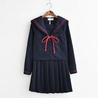 weiblicher seemann anzug großhandel-JK Uniform Japanses Student Sailor Uniform Kawaii Anzug für Studentinnen Strick + Rock + Top pro Set