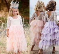 bebekler özel günlerinde elbiseler toptan satış-Yaz Güzel Bebek Çiçek Kız Elbise Prenses Pageant Dantel Tül Küçük Kızlar Özel Durum Elbise MC1680