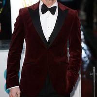 Wholesale velvet pants for men - 2018 Burgundy Velvet Groom Tuxedos for Wedding Wear Three Piece Black Peaked Lapel One Button Business Prom Men Suits Jacket Black Vest Pant