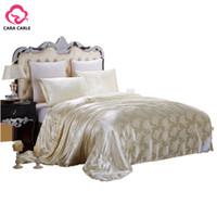 Wholesale pink jacquard bedspread - 100% Natural Mulberry Silk Comforter King Queen Twin size Summer & Winter Duvet Blanket Quilt edredom Filler Bedspread Bedding