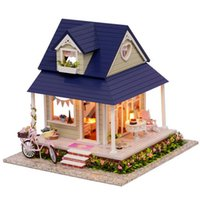 Wholesale Wooden Furniture For Children - Wholesale-CuteRoom DIY Handmade Wooden Dollhouse Miniature With House Furniture Toy Gift For Children Bicycle Angle Kit Gift For Children