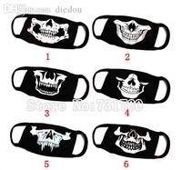 kafatası maskeleri toptan satış-Toptan-Siyah Unisex Bisiklet Anti-toz Pamuk Kafatası Ağız Maskesi Cadılar Bayramı