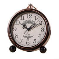 Wholesale Clocks European Vintage - Creative Vintage European Style Bedroom Clock, Silent Metal Alarm Clock Suitable for Office Study Alarm Clock - Bronze