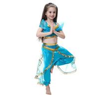 trajes de baile indio vestidos al por mayor-Las muchachas de la lámpara de Aladino Jasmine Princess Costumes Cosplay para niños Fiesta de Halloween Vestido de danza del vientre Indian Princess Costume