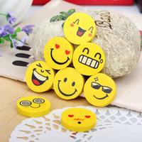 mini lastik silgi toptan satış-Mini Sevimli Karikatür Çocuklar Hediye Için Kawaii Kauçuk Gülümseme Yüz Emoji Silgi Okul ofis Malzemeleri Kore Papelaria