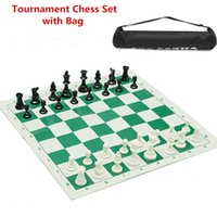 Wholesale New Plastic Tournament Chess Set Camping Travel Amusement Gift With Long Tournament Chess Bag for game analysis