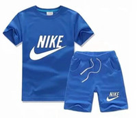 çocuklar koşu setleri toptan satış-Yaz Marka Çocuk Giyim Seti Erkek Spor Takım Elbise Çocuk Kısa kollu Tişört + şort Pantolon Kız Giyim Koşu Eşofman