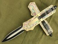 Wholesale Abalone Pocket Knives - OEM 6 models Microtech scarab gold scarab Abalone shell double action Hunting Pocket Knife Survival Knife Xmas gift 1pcs freeshipping