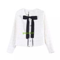 yay ceketi sonbahar toptan satış-High end kadın kızlar Tüvit uzun kollu sonbahar kış ceket ceket ile yay şerit yeni stil ceket bombacı ceket blazer dış giyim üst bluz