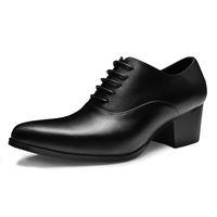 sapatas da altura dos homens s venda por atacado-Altura Crescente Italiano Designer Homem Vestido Formal Couro Genuíno De Salto Alto Oxfords Apontou Toe Altura Crescente Sapatos Masculinos Feitos À Mão