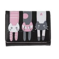 kedi örneği cüzdanı toptan satış-Kadın Cüzdan Kedi Desen Cüzdan Küçük Toka Sikke Çantalar Moda Kız Güzel Kısa Cüzdan Sahipleri Kadın Carteira