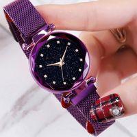 bracelet magnétique diamant achat en gros de-Luxe Ciel Étoilé Femmes Montres Célèbre Marque Bracelet Diamant Quartz Dames Montre Ultra Mince Magnétique En Acier Femme Montre-Bracelet