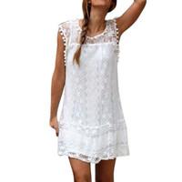 2dd44764eeb9 Women Casual Lace Sleeveless Beach Short Dress Summer Sexy Mini Dress white  Sundress Vestidos Boho clothing fashion Robe Style