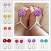 Wholesale pearl toe ring resale online - Flower Sandals Simulated Pearl Anklets Newborn Baby Girls Foot Band Toe Rings First Walker Barefoot Sandals Anklets Kids KFA20