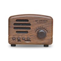 bluetooth mini hi fi toptan satış-Sıcak Hi-Fi Kutuları Retro Uygun Kart radyo Ile Uyumlu Kablosuz Mini Bluetooth Hoparlörler Bluetooth 4.2 / TF kart / AUX / FM Çocuk Hediyeler