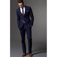 mens gelinlik lacivert toptan satış-Lacivert kostüm erkekler için homme smokin damat takım elbise erkek takım elbise pantolon ile erkekler için düğün İş takım elbise s ...