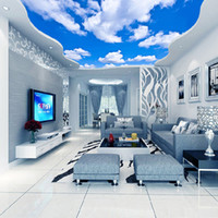 Wholesale Vinyl Ceiling - Custom Ceiling Mural Wallpaper 3D Blue Sky And White Clouds Living Room Bedroom Ceiling Background Photo Wallpaper Wallcoverings