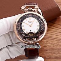 коричневый скелет кожаные часы оптовых-Новый Bovet Amadeo Fleurier Grand Complications Виртуоз из розового золота с скелетом Белые мужские часы с циферблатом Коричневый кожаный ремешок Спортивные часы A04b2