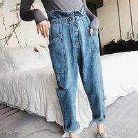 jeans coreano venda por atacado-SHENGPALAE 2018 New Outono Inverno Bottoms Solto Grande Tamanho Cor Sólida Denim Coreano Moda Maré Oco Out Buraco Mulheres Calças FF909