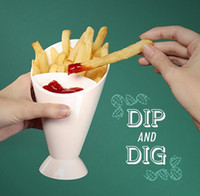 Wholesale Plastic Dip Tools - French Fries Cup Creative Vegetable Sticks 2 in 1 Salad Bowl Kitchen Potato Tool Fries Set DIPPING it CONE 300pcs