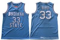 camisetas de baloncesto verde al por mayor-Indiana State Sycamores # 33 Bird Retro Jersey azul ISU Hombres Larry Green Springs Valley Soul Swingman College Basketball Jerseys