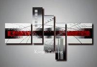 kanvas yağlıboya siyah kırmızı toptan satış-100% el boyalı modern kırmızı siyah ve beyaz soyut sanat grubu yağlıboya çerçevesiz duvar sanat tuval yüksek qu