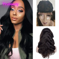 Wholesale indian virgin front closure resale online - Body Wave X4 Lace Closure Wig inch Indian Virgin Hair Lace Closure Lace Wig Free Part Human Hair Products Natural Color