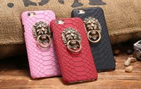 Wholesale Iphone Lion Cases - For iPhone 7 Plus Retro Snake Skin Metal Lion Head Ring Phone Stand Cover For iPhone 6 6S iPhone 6 6S Plus 5 5S SE Case