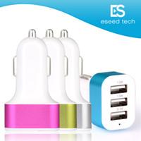 chargeurs de batterie rapides achat en gros de-Chargeur de voiture, 3 ports Rapid USB Chargeurs de batterie de voiture Chargeur de cigarette Adaptateur pour Apple Iphone 6/6 + / 6s / 6s + / 5 / 5s / 5c, Ipad Air, Ipad Mini