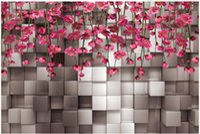 murs blancs fleurs noires achat en gros de-3D noir et blanc carrée fleur rouge vigne TV fond mur papier peint pour les murs 3 d pour le salon