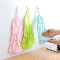 farbe schnell großhandel-Home hängende Küche einfarbig super saugfähig schnell trocknend Handtuch Korallensamt Handtuch wischen Handtuch