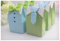 Wholesale Paper Treat Bag - 50pcs My Little Man Blue Green Bow Tie Birthday Boy Baby Shower Favor Candy Treat Bag Wedding Favors Candy Box Gift Bags