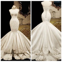 Wholesale wedding dress back tail - Lace Mermaid Wedding Dresses 2018 Sweetheart Luxury Fish Tail Slim Waist Satin Big Long Train Princess Bridal Gowns Lace Up Back Tiered
