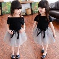 ingrosso abiti estivi di skirt nero-Le bambine del bambino vestiti insiemi la maglietta superiore nera + la gonna di pizzo 2Pcs / Set vestiti di vestiti di estate del vestito dalla principessa vestiti