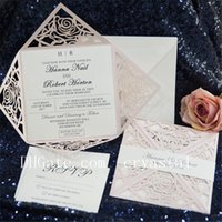 Wholesale customizable invitations - 2018 Graceful Classic Unique Blush Pink Rose Laser Cut Wedding Invitation Suite With Envelope, Customizable Invites Shipped by UPS
