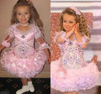 şirin glitz yarışması elbiseleri toptan satış-Mütevazı Glitz Yürüyor Pageant Elbise Sparkly Kristal Ruffles Etek Sevimli Küçük Kızlar Elbiseler Prenses Düğün Parti Resmi Elbise