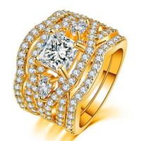 dreifachring silber großhandel-Europa und Amerika Kupfer Überzogene Silber Ring Triple Set Ring Hochwertiger Zirkon Überzug Diamant Mosaik Edelstein Nicht Allergisch Ring Schmuck Frauen