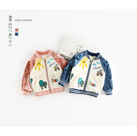 Wholesale 18 Month Boy Jacket - 2018 INS NEW ARRIVAL boys Girls Kids long Sleeve Velvet stitching embroidery jacket kids casual outwear cotton jackets 2 color free ship