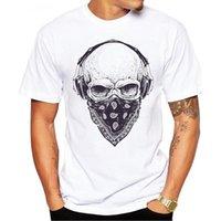 наушники с черепами оптовых-2017 мужчины футболки мода череп с наушниками дизайн с коротким рукавом повседневная топы Hipster старинные печатных футболка прохладный Tee