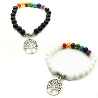 ingrosso braccialetto di vita dell'albero bianco-8mm Natural Rainbow 7 Chakra Beads Stone Bracciali Tree of Life Ciondolo Black White Stone Bracelet Stretch Yoga Jewelry
