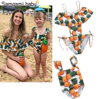 Wholesale Ins Summer pineapple Kids Swimwear cute Fashion Girls Swimsuits Mother and Daughter Clothes Child Sets Beachwear Girls Bathing Suits A1734